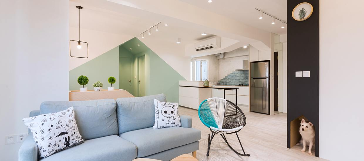 Clean Looking Living Room with Light Blue Shade - Comfort Furniture