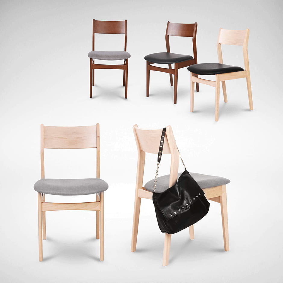 Light And Dark Colour Rubber Wood Chairs Comfort Furniture