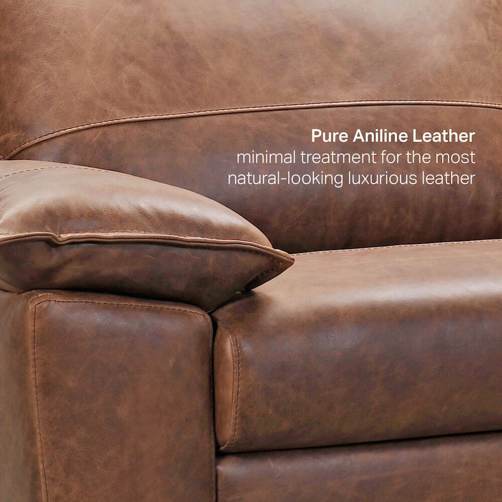Sofa with Pure Aniline Leather - Comfort Furniture