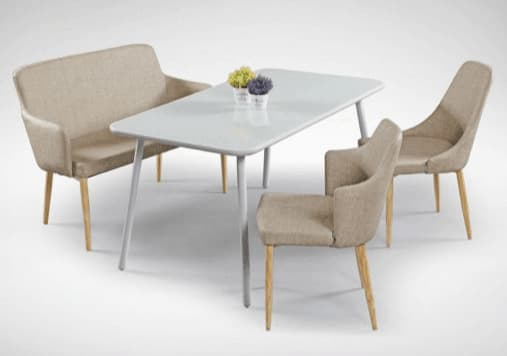 Matching Bench and Chair with White Glass Table - Comfort Furniture