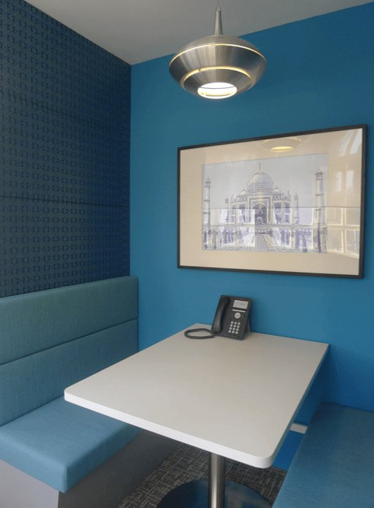 Matching Blue Colours with Bench Style Seating and Wall - Comfort Furniture