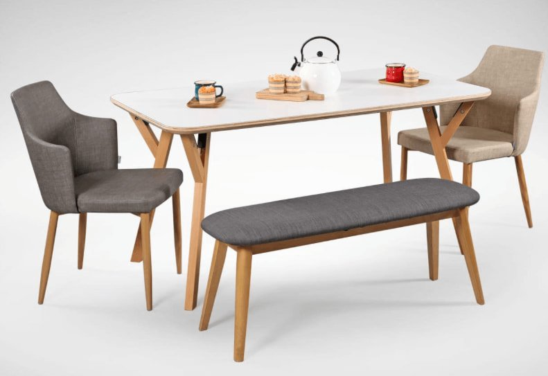 Matching Debbie Armchair and Bench with Dining Table - Comfort Furniture
