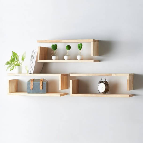 L-Shaped Wall Shelves for Display - Comfort Furniture