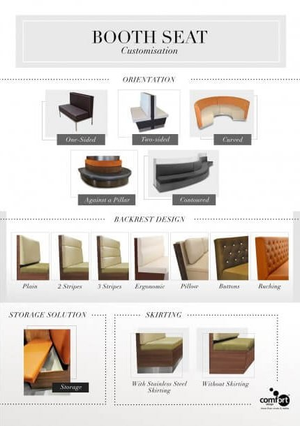 Booth Chairs with Various Colours & Sizes - Comfort Furniture