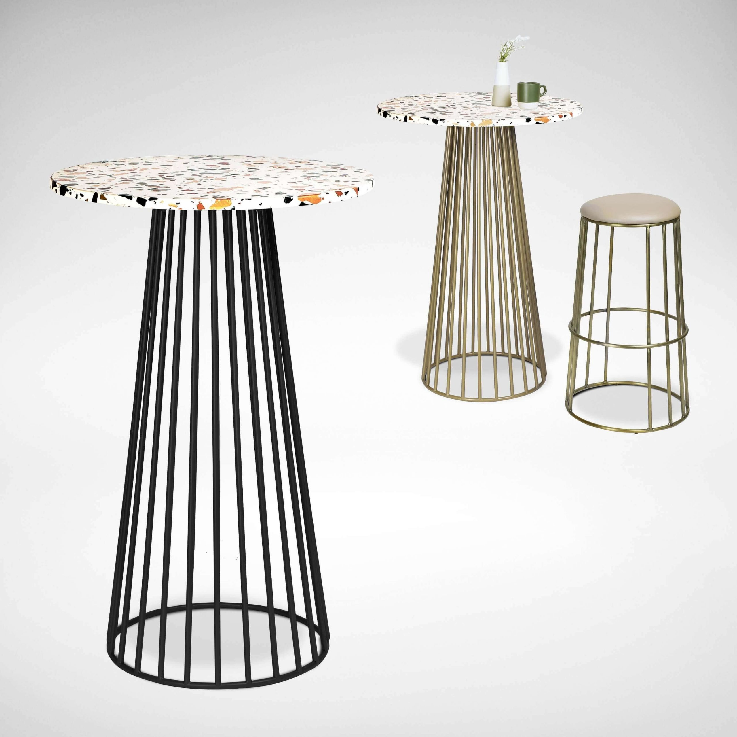 Terrazzo Tiled Cafe Tables with Coloured Stands - Comfort Furniture
