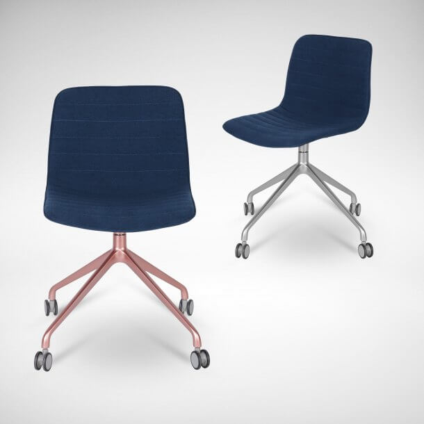 Blue Upholstered Swivel Desk Chair - Comfort Furniture
