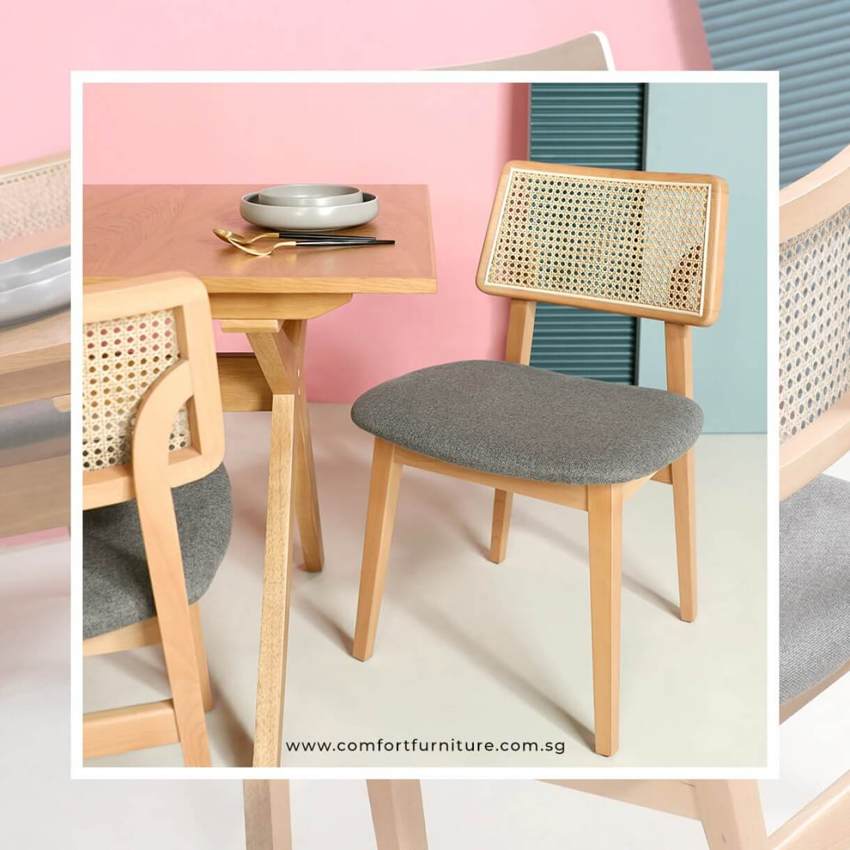 Jago Rattan Dining Chair with Fabric Seats - Comfort Furniture