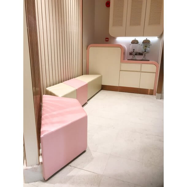 Pastel Coloured Backless Sofa for Office Decoration Purposes - Comfort Furniture