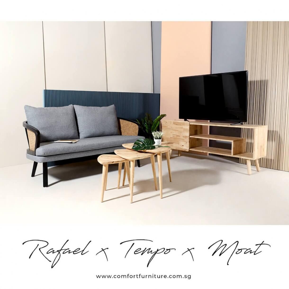 Retro Inspired Living Room with Rafael Rattan Sofa - Comfort Furniture