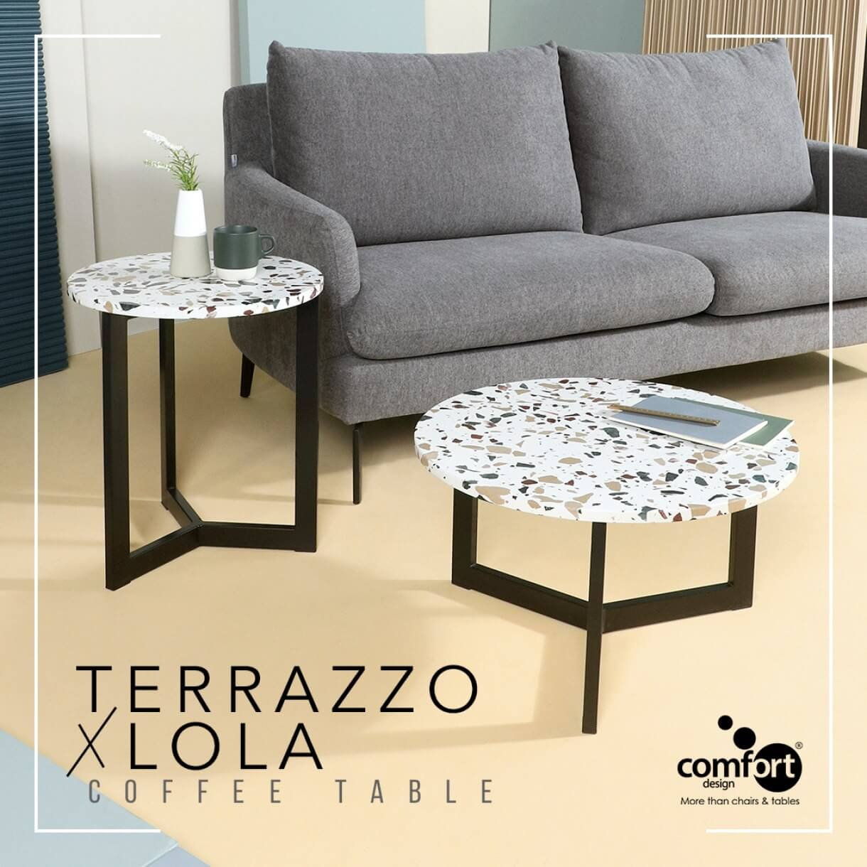 Retro Inspired Living Room with Lola Terrazzo Coffee Table - Comfort Furniture