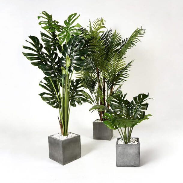Artificial Trees in Various Sizes with Pebbles - Comfort Furniture