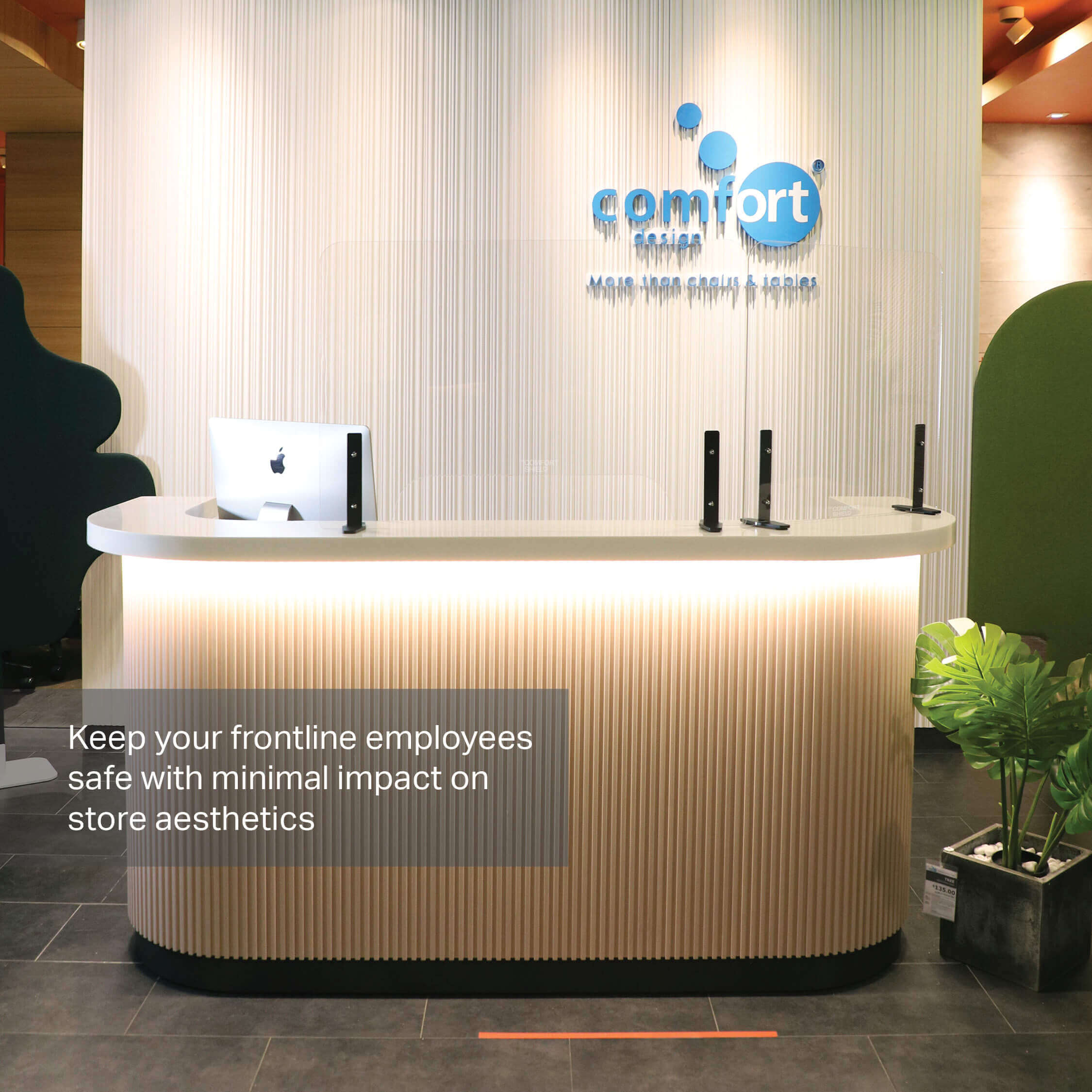 Minimise Contact at the Reception Area with Acrylic Shield - Comfort Furniture