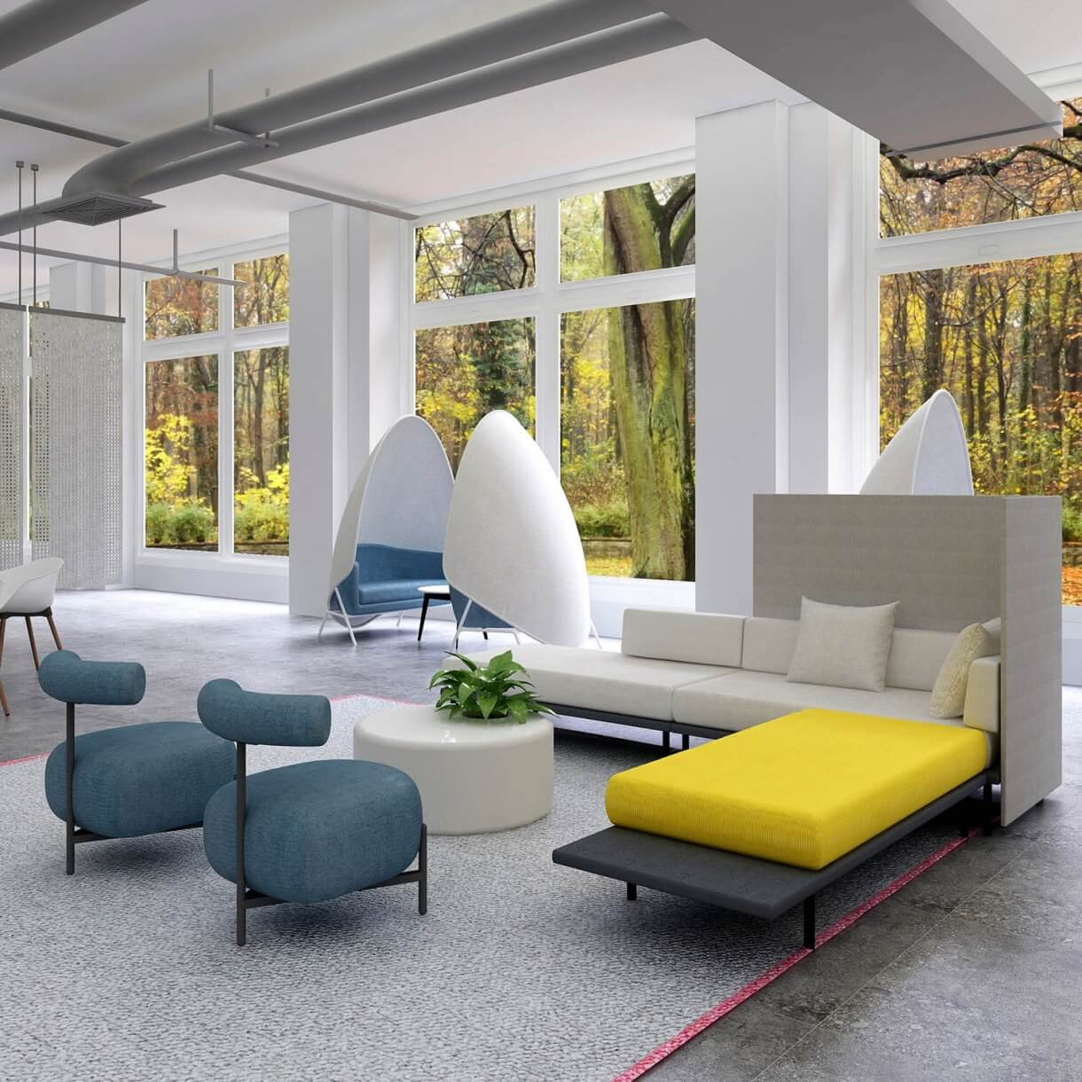 Spaceship Inspired Sofa Layout Arrangement Ideas for the Office Reception - Comfort Furniture