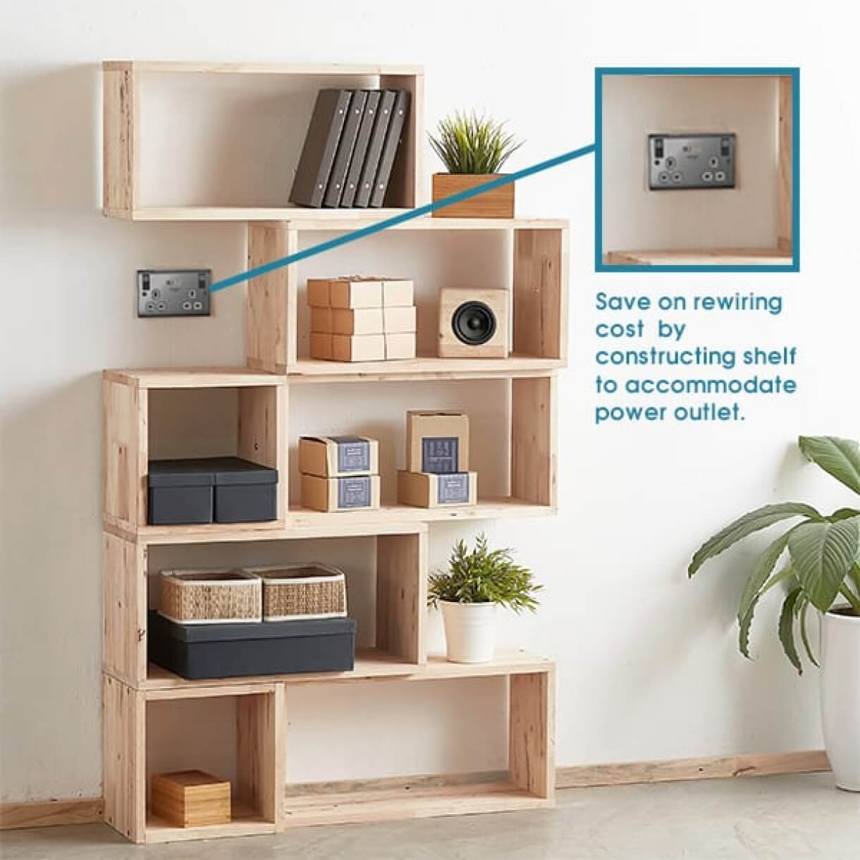 Customisable Shelf that Accommodates Power Outlet - Comfort Furniture