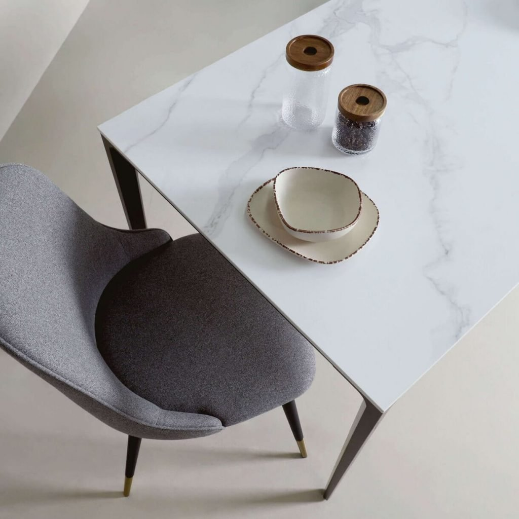 Top View of Carrera White Sintered Top Dining Table - Comfort Furniture