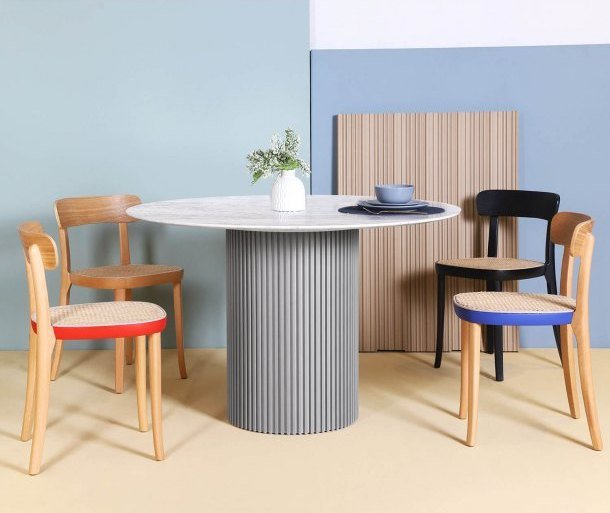 Round Marble Dining Table Pairs Well with Rattan Chair - Comfort Furniture Singapore