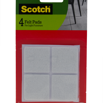 3M Scotch White Circle Felt Pads - For Light Furniture