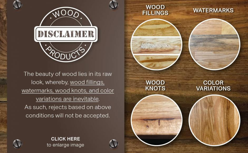 Disclaimer on natural wood