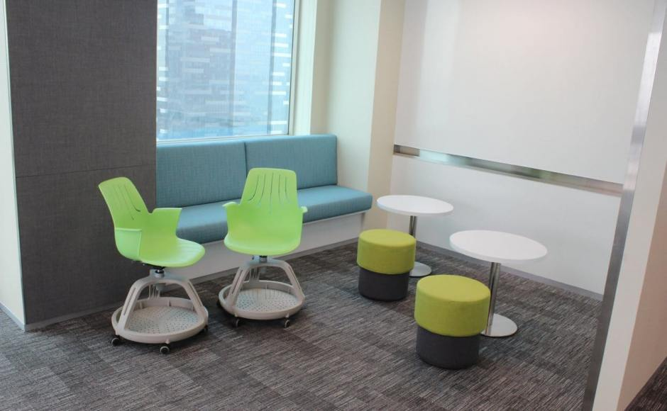 Deloitte - OUE Downtown | Products Seen: [Halved Stool, Jamie Tray & Traxtor Round Table Base with Laminate Table Top Round]<br />