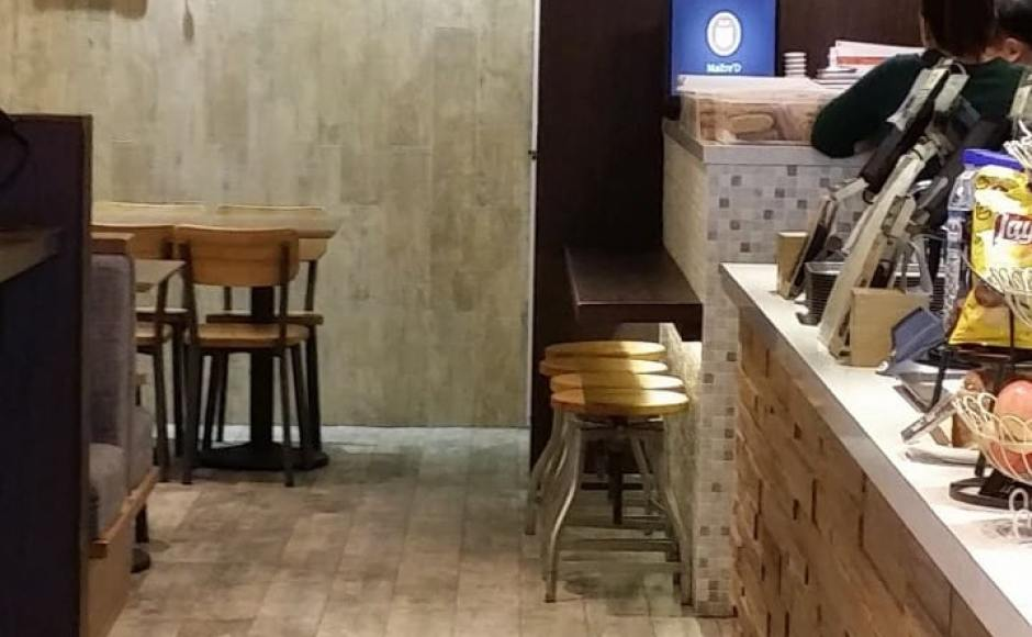 Soup Spoon - Suntec City | Products seen: [Industrial Stool Galvanized + Wood]<br />