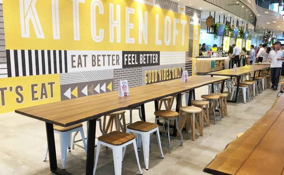 Kitchen Loft - MapleTree Business City | Product Seen: [Dojo Low Stool – Wood Seat, Duncan Dining Table, Industrial Stool Galvanised + Wood & Kiki Stool><br />