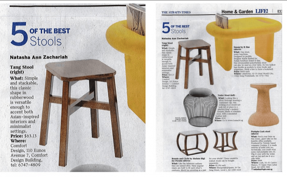 Comfort Design's Tang Stool got featured under LIFE! Home & Garden Section! :)<br />