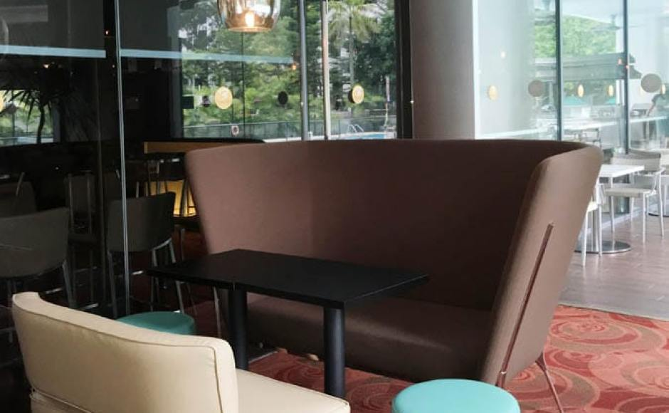3Bars - Chinese Swimming Club | Products seen: [Private Sofa - Highback, Leopard 2-Seater Sofa, Tapioca Stool &amp; Customised Table Top in Cosson Table Leg H730]<br />