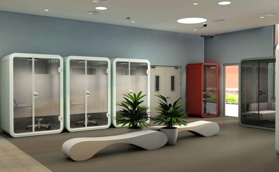 Huawei School - Waiting Area at Ground Level | Product(s) Seen: [Flight Privacy Pod in Size Small, Medium & Large]