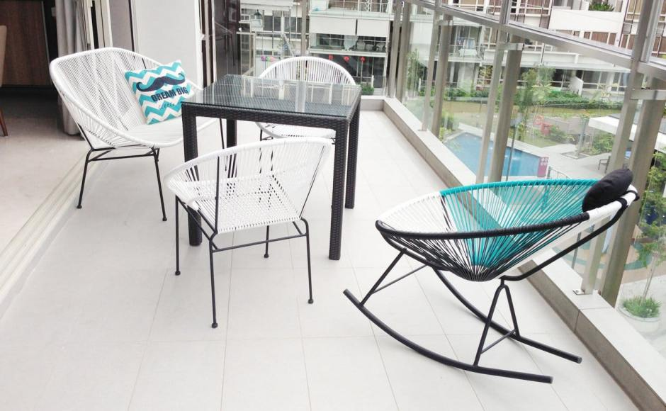 Apartment - Flamingo Valley | Products Seen: [Breathe Outdoor Rocking, Dayboro Outdoor Dining Table - Square 800, Cindy Outdoor Armchair, Cushion – Dream Big]<br />