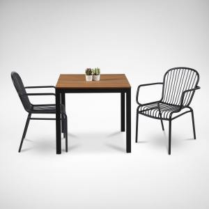 Fossil Square Outdoor Dining Table + Renata Armchair