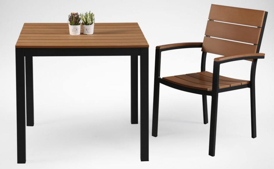 [Fossil Outdoor Dining Table - Square 800 & Fossil Outdoor Armchair]