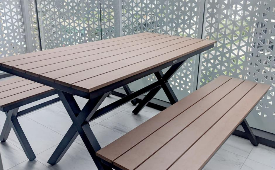 Residence - Tampines Street | Product Seen: [Fossil Outdoor Bench – No Back & Fossil Outdoor Dining Table - W1400]