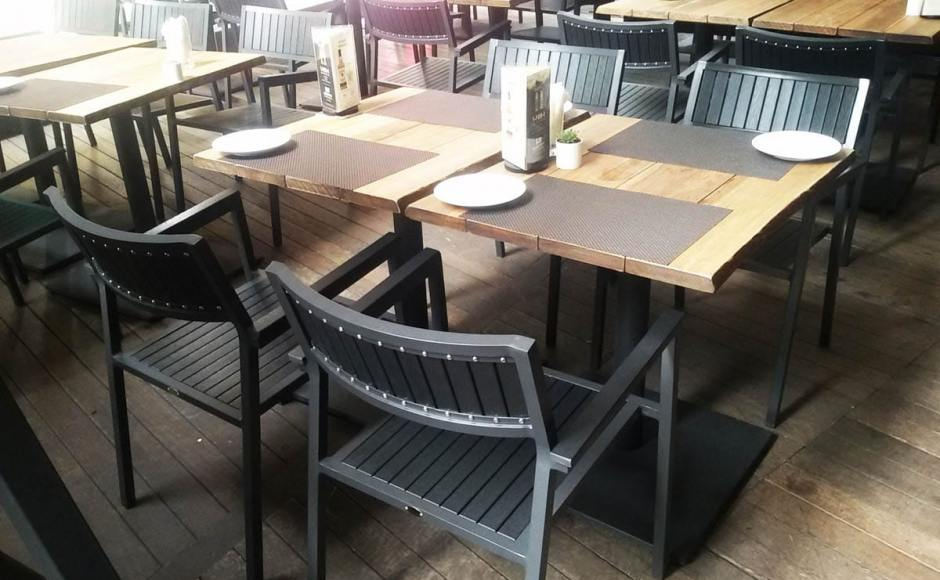 Bedrock Bar & Grill - Somerset | Products Seen: [Warner Outdoor Armchair & Customised Duncan Dining Table with Pyramid Table Base]