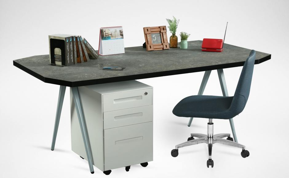 [Laminate Top + Garang Table Base - W1800, Armour Mobile Pedestal & Fondue Sidechair Castors]