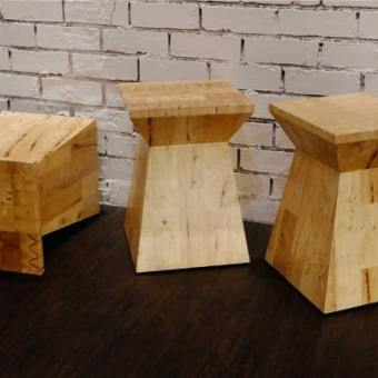 Butcher Blocked Stool / Side Table