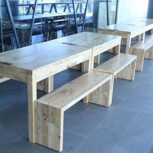 Panel Bench w/ Clean Rubberwood Top – Customisable