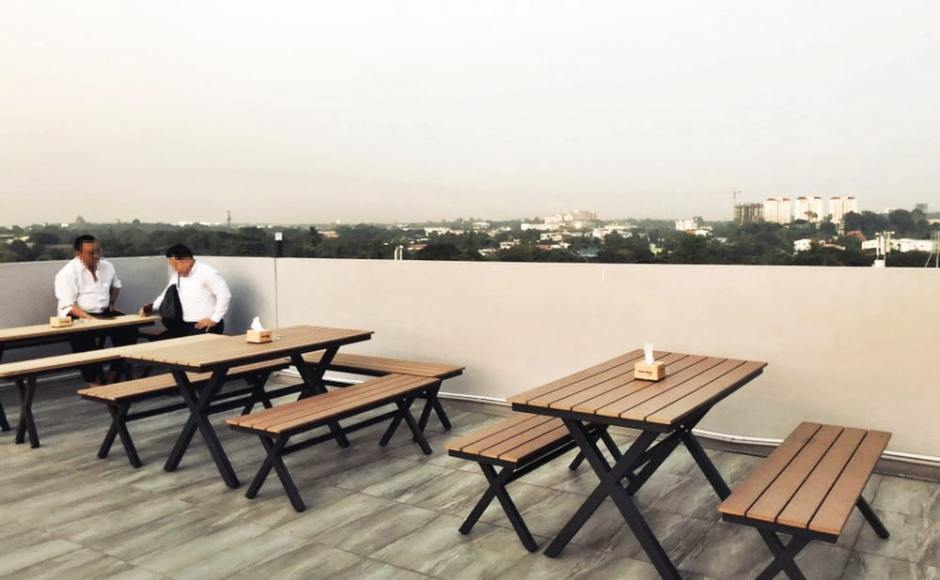 99 Bar Roof top, Hotel Broadway - Yangon, Myanmar | Product Seen: [ Fossil Outdoor Bench – No Back & Fossil Outdoor Dining Table - W1400]