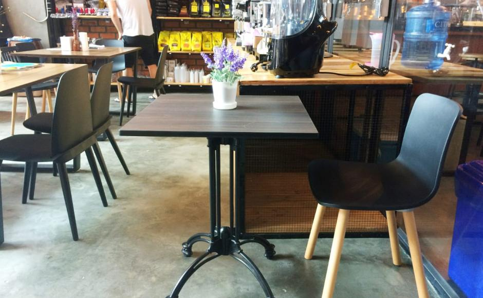 Caffa - Yangon, Myanmar| Product Seen: [Troy Chair, Plug + Round Leg Chair & Customised Tabletop + Antique Table Base]