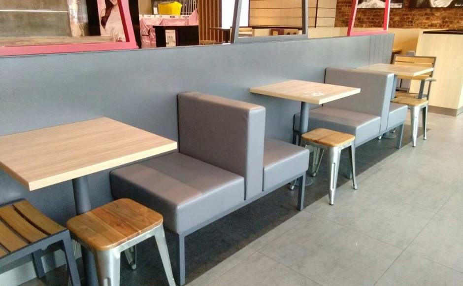 KFC - Junction City, Yangon, Myanmar | Products seen: [Dojo Low Stool – Wood Seat & Stainless Steel Booth (Back-to-Back)]
