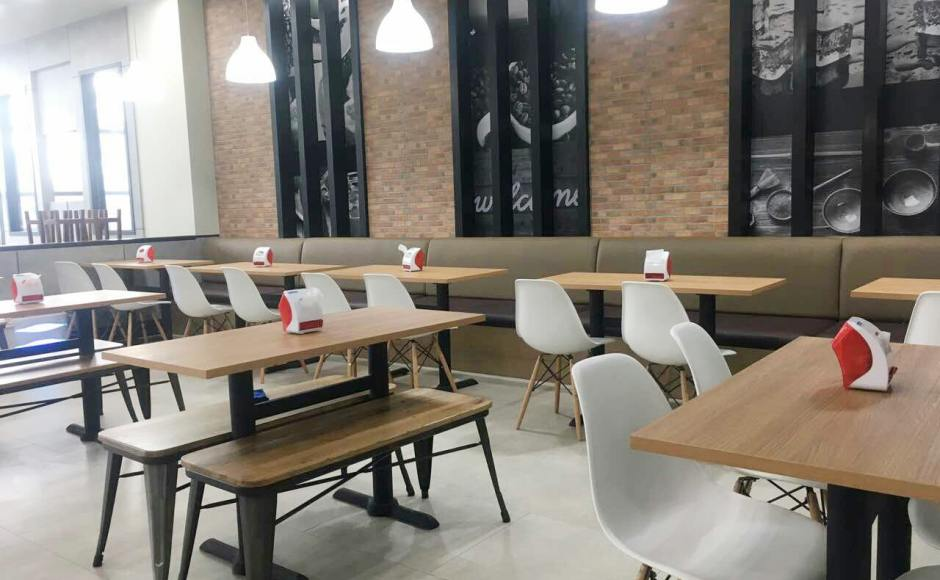 Shwe Palin Restaurant Hlaing Thar Yar Ocean Center - Yangon, Myanmar | Product Seen: [Argo – PP + Tower Chair, Dojo Bench – No Back & Customised Laminate Tabletop + Filo Table Base]<br />
