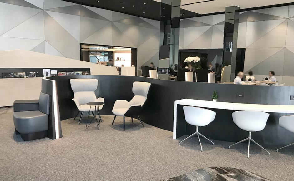 Audi Showroom | Product Seen: [Gianni 4-Legged Lounger. Angel Coffee Table – Small & Blot 4Prong - Half Upholstery]