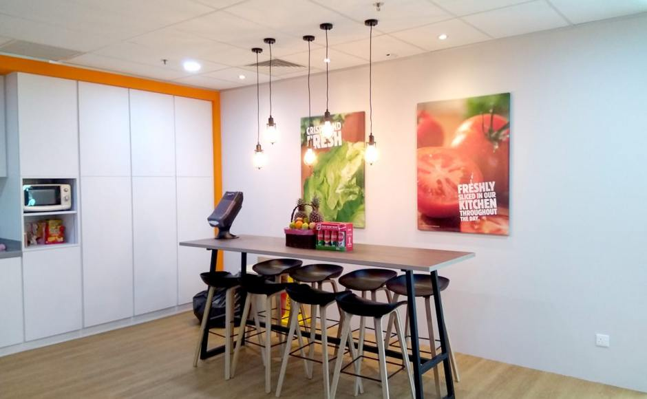 Burger King Singapore HQ | Product Seen: [Kami Barstool - Wood & Customised Laminated Tabletop + Anderson Bar Table – Customisable]
