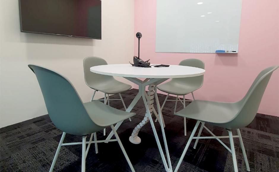 DIS - Collinson | Product Seen: [Adik – Steel Side Chair & Customised tabletop + Haley Dining Table]