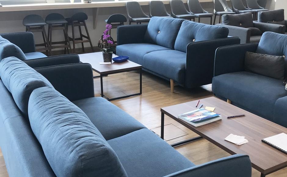 German European School Singapore | Product Seen: [Bruffon 3–Seater Sofa - Dark Blue & Laminate Table Top + Acer Coffee Table Leg – Customisable]