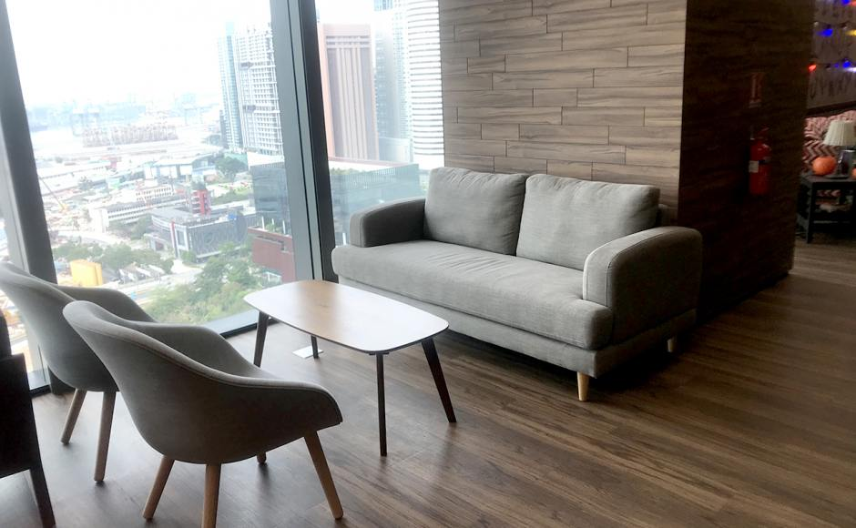 Office - Marina One | Product Seen: [Aiden 3 Seater Sofa, Sacco Wood Leg Lounger & Oxford Coffee Table]