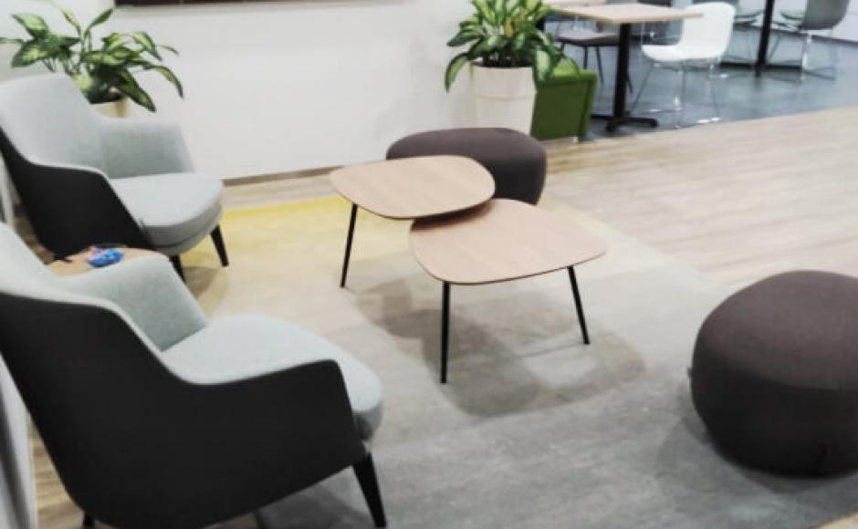 Regus Singapore | Product Seen: [Ridge Coffee Table, Pebble Stool/Ottoman & Cullen 1–Seater Sofa]