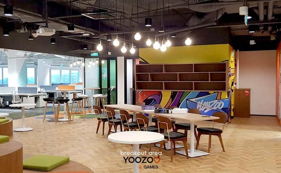 Yoozoo - Alice@Mediapolis | Product Seen: [Customised Laminated Tabletop + Cosson Table base, Pyram Table Base - V2, Kami Barstool - Wood & Rein Side Chair]