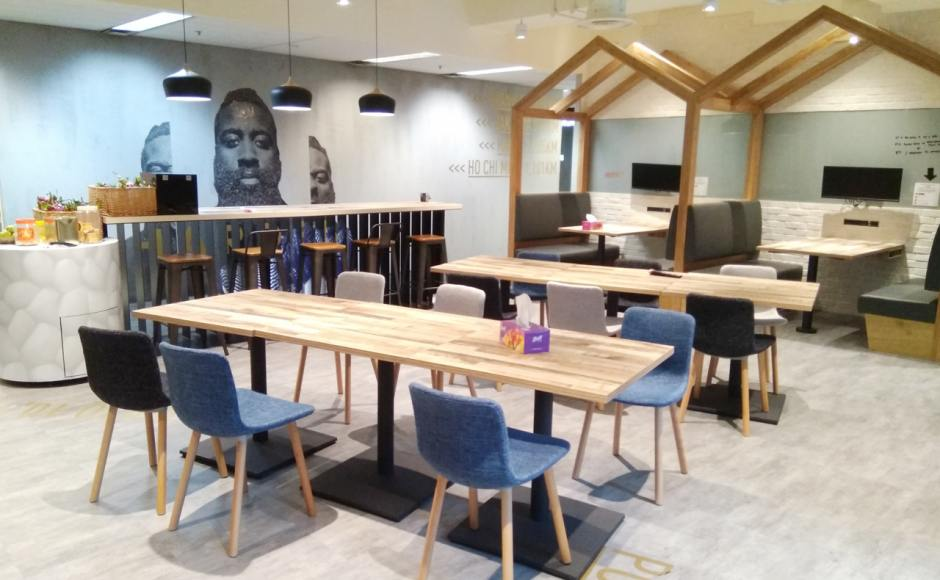 Adidas - 77 Robinson Road | Products Seen: [Pino + Round Leg Chair & Customised Tabletop + Pyram Table Base]<br />