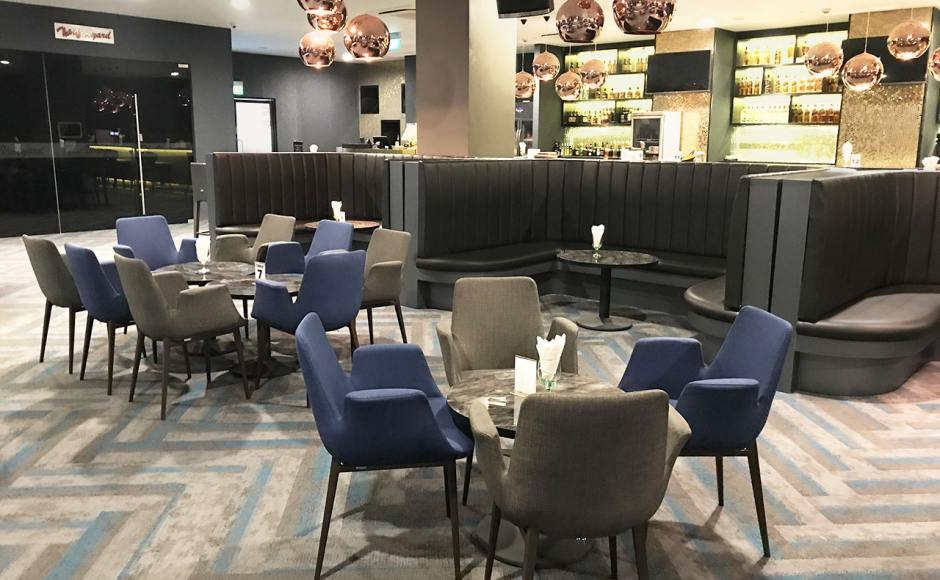The Chevrons SAF Club – KTV | Product Seen: [Fondue Armchair, Customised Laminated Tabletop With ABS Edging + Cosson Table Base]