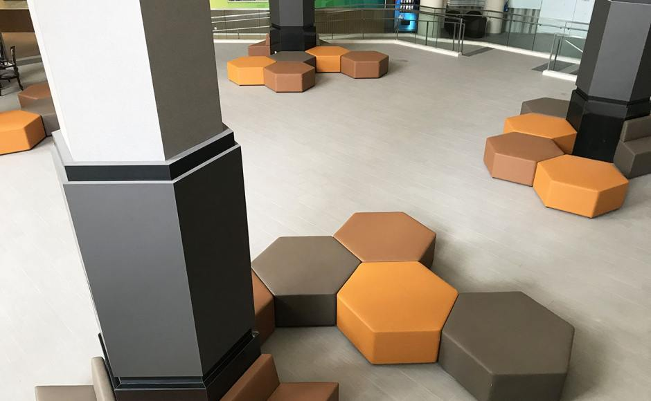 The Chevrons SAF Club – Reception | Product Seen: [Hexagon Stool & Rio Trapezium Arm-less Sofa (Modular)]